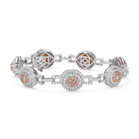 NEW Pink Diamond Oval Halo Bracelet in 18k White and Rose Gold (4.81 ct. tw.)