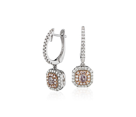 Pink Diamond Double Halo Earrings in 18k White and Rose