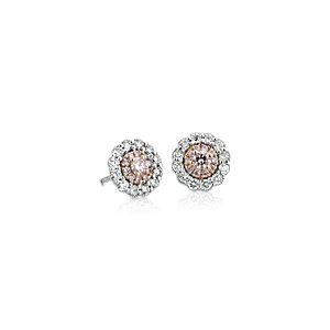 Aretes de diamantes rosados en oro rosado y blanco de 18k (1/2 qt. total)
