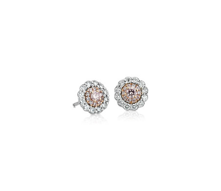 18k 白金和玫瑰金粉色钻石耳环<br>(1/2 克拉总重量)