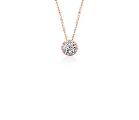 Pink halo diamond pendant in 18k rose gold blue nile pink halo diamond pendant in 18k rose gold aloadofball