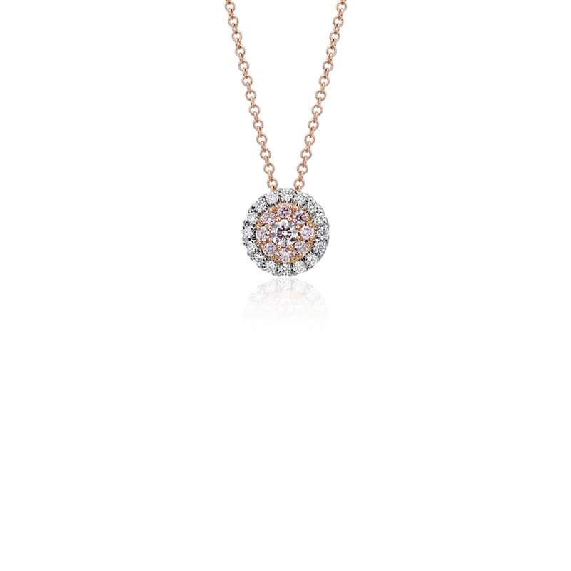 Pink Diamond Halo Pendant in Platinum and 18k Rose Gold (1/4 ct.