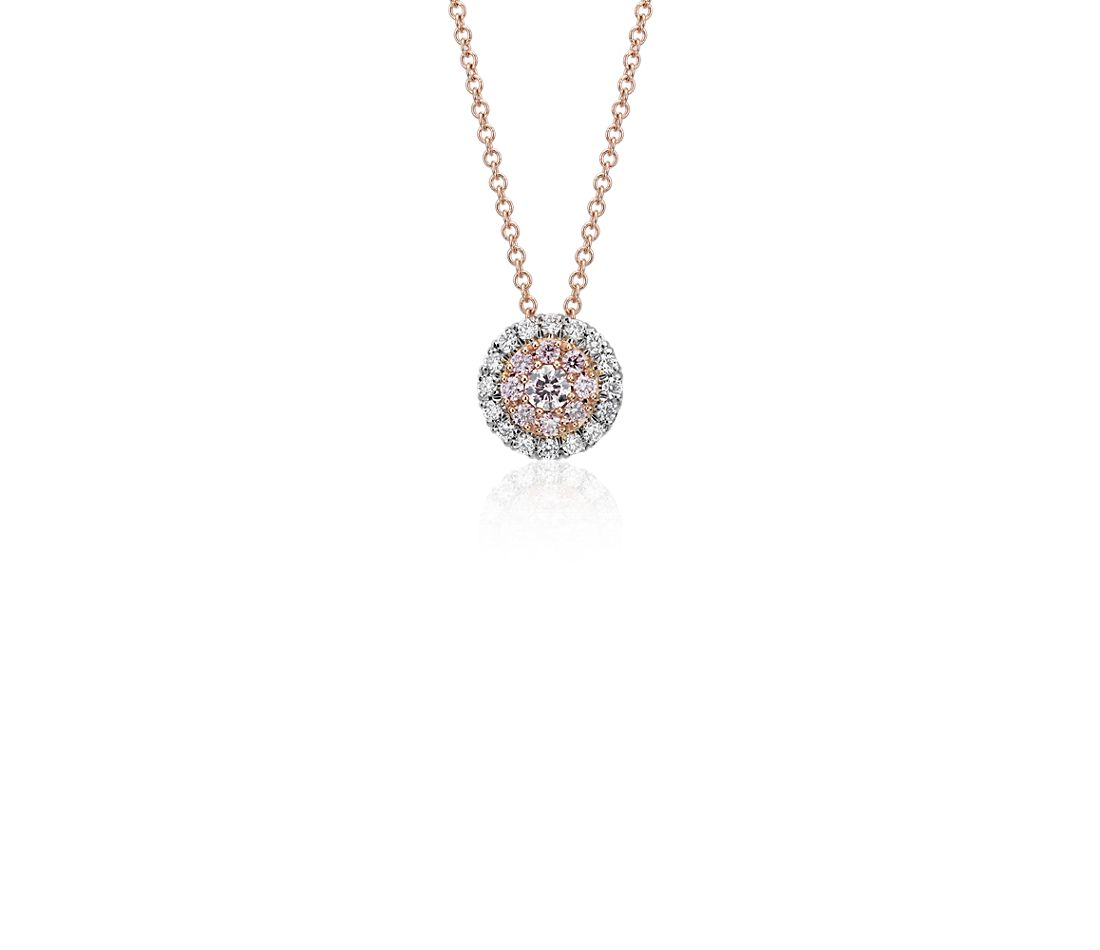 Pink Diamond Halo Pendant in Platinum and 18k Rose Gold (1/4 ct. tw.)