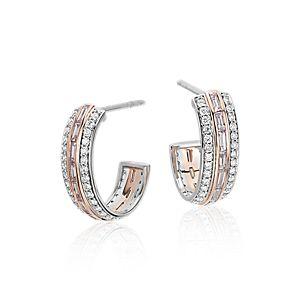 粉红钻石圈形耳环,铂金及18k 玫瑰金 (1.17 克拉总重量)
