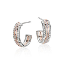 Pink Diamond Hoop Earrings in Platinum and 18k Rose Gold (1.17 ct. tw.)