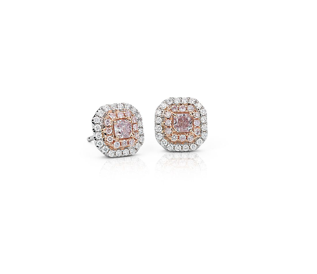 Pink Diamond Double Halo Stud Earrings In 18k White And Rose Gold 1 2 Ct Tw