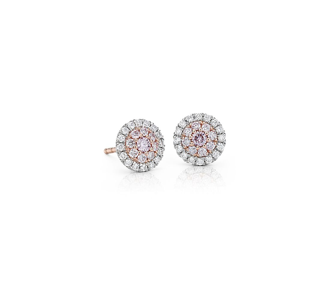 Pink Diamond Halo Stud Earrings In Platinum And 18k Rose Gold 1 2 Ct Tw