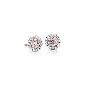 Pink Diamond Halo Stud Earrings in Platinum and 18k Rose Gold (1/2 ct. tw.)