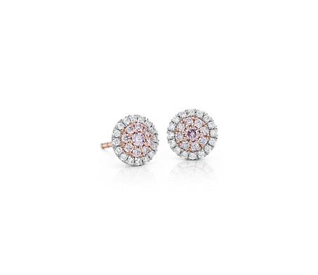 Puces d'oreilles halo de diamants roses en platine et or rose 18carats - (1/2carat, poids total)