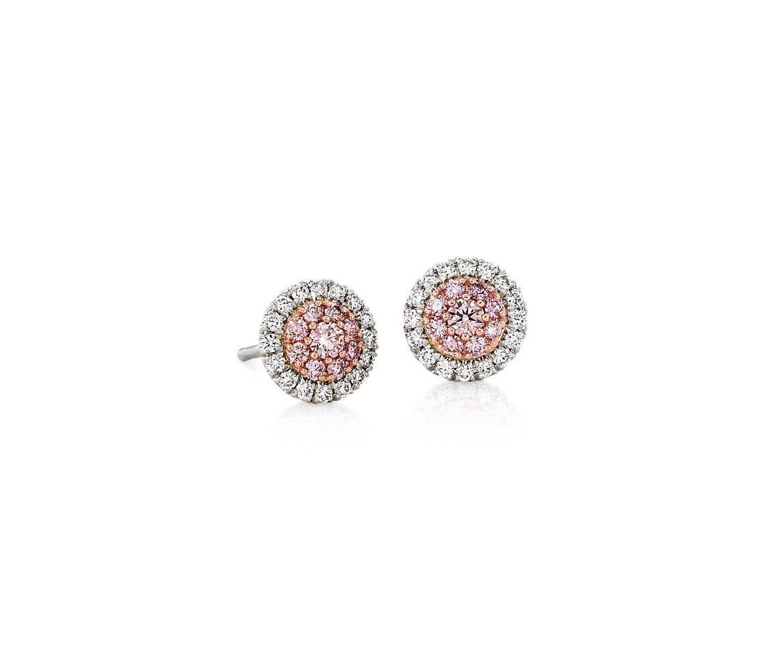 Pink And White Diamond Halo Stud Earrings In Platinum 18k Rose Gold 1 2 Ct Tw