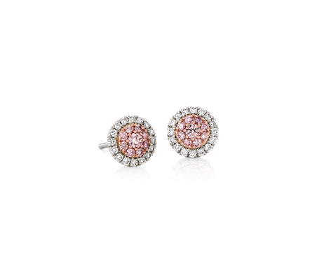 Pink and White Diamond Halo Stud Earrings in Platinum and 18k Rose Gold (1/2 ct. tw.)
