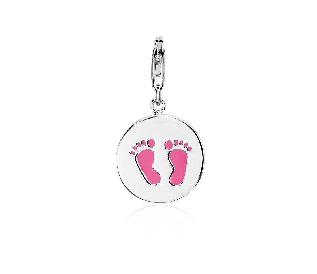 Pink Footprint Charm in Sterling Silver