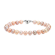 Multicolored Freshwater Cultured Pearl Bracelet with Sterling Silver Heart Clasp (6-7mm)