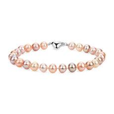 新款多彩淡水養珠手鍊搭 925 純銀心形扣環 (6-7毫米)