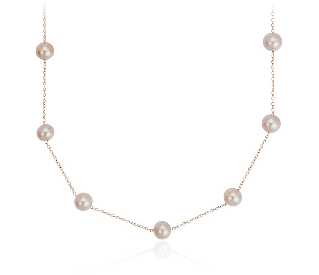 c3c52af62 Pink Freshwater Cultured Pearl Tincup Stationed Necklace in 14k Rose Gold  (5.5mm) | Blue Nile