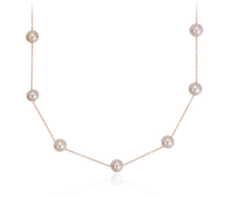 Pink Freshwater Cultured Pearl Tincup Stationed Necklace in 14k Rose Gold (5.5mm)