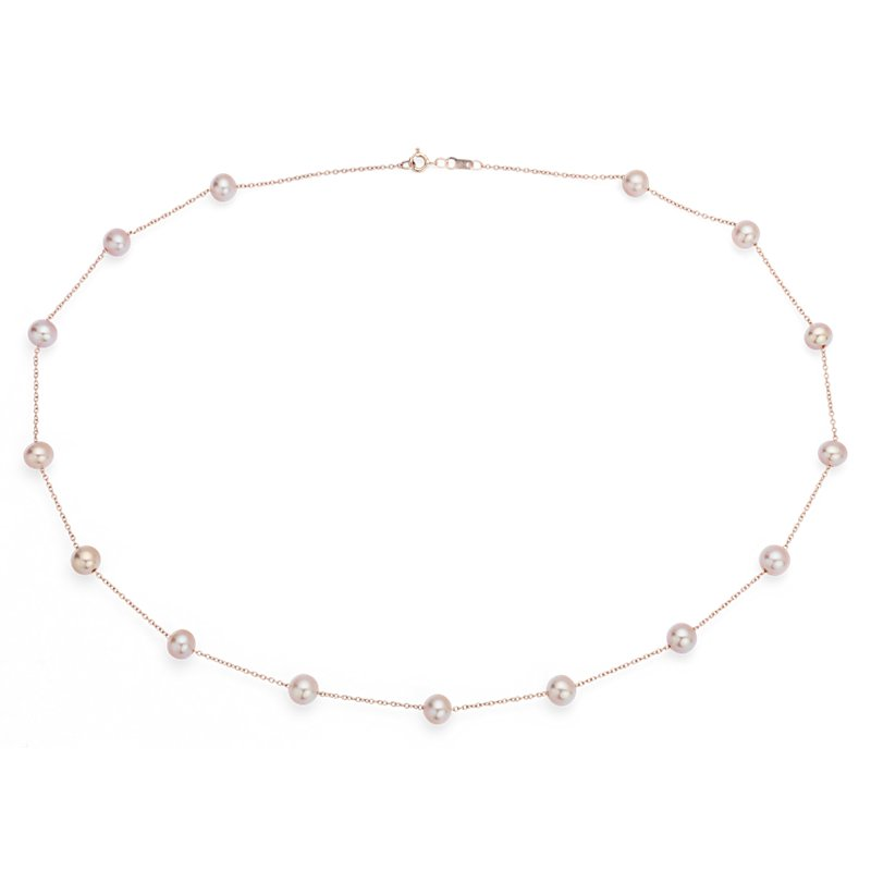 Pink Freshwater Cultured Pearl Tin Cup Stationed Necklace in 14k