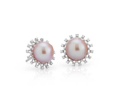 Boucles d'oreilles halo de diamants et perle de culture d'eau douce rose en or blanc 14 carats (8,5-9 mm)