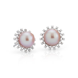 NEW Pink Freshwater Cultured Pearl and Diamond Halo Earrings in 14k White Gold (8.5-9mm)