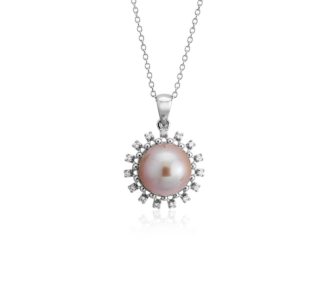 Pendentif halo de diamants et perle de culture d'eau douce rose en or blanc 14 carats (9-9,5 mm)