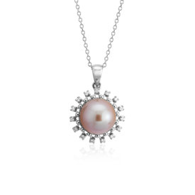 NEW Pink Freshwater Cultured Pearl and Diamond Halo Pendant in 14k White Gold (9-9.5mm)