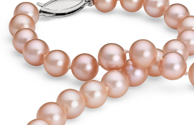 Collier de perles de culture d'eau douce roses en or blanc 14carats (7,0-7,5mm)