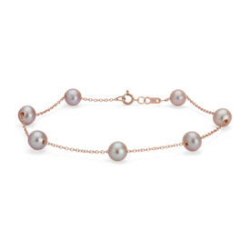 NEW Pink Freshwater Cultured Pearl Tin Cup Stationed Bracelet in 14k Rose Gold (5.5mm)