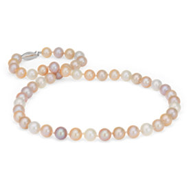 Collar de tres vueltas de perlas cultivadas de agua dulce en oro blanco de 14 k (8,0-9,0mm)