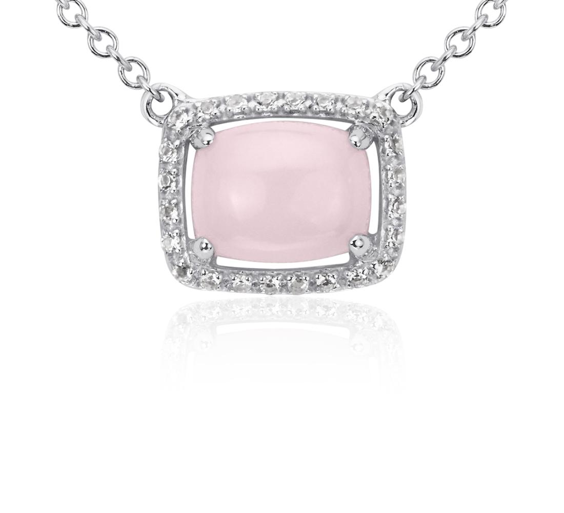 Colgante este/oeste con ópalo rosado y topacio blanco en plata de ley (9x7mm)