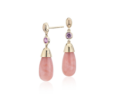 Frances Gadbois Pink Opal and Pink Sapphire Strie Drop Earrings in 14k Yellow Gold (7x15mm)