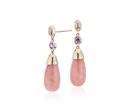 14k 黃金 Frances Gadbois 粉紅蛋白石與粉紅藍寶石交叉條紋飾吊墜耳環<br>( 7x15 公釐)