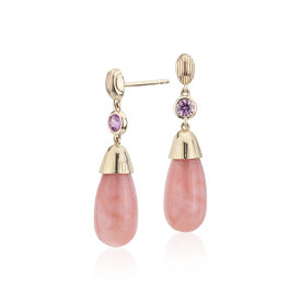 NEW Frances Gadbois Pink Opal and Pink Sapphire Strie Drop Earrings in 14k Yellow Gold (7x15mm)