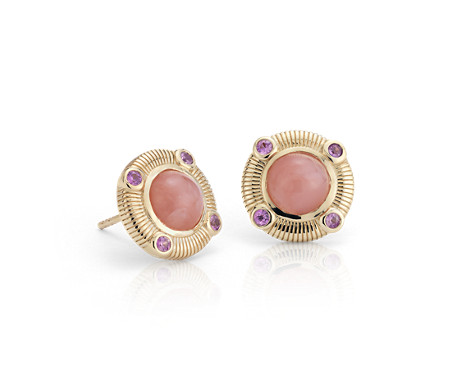 Frances Gadbois Pink Opal and Pink Sapphire Strie Stud Earrings in 14k Yellow Gold (7mm)