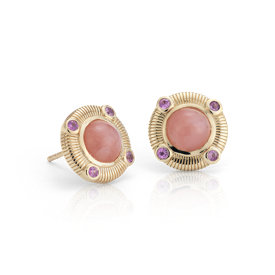 NEW Frances Gadbois Pink Opal and Pink Sapphire Strie Stud Earrings in 14k Yellow Gold (7mm)