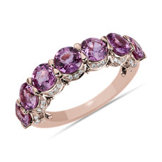 NEW Pink Sapphire 7-Stone and Hidden Diamond Halo Ring