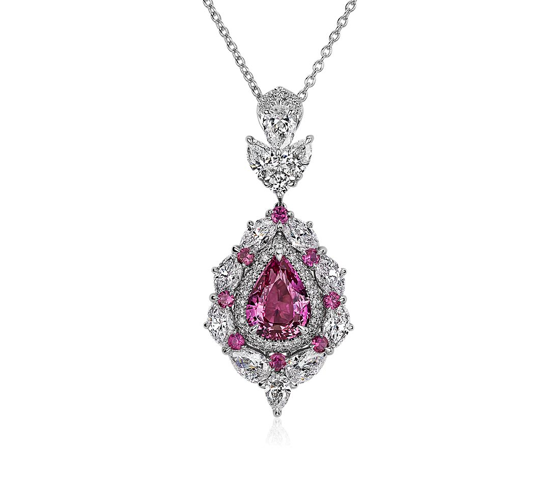 Pink Sapphire and Diamond Halo Pendant in 18k White Gold
