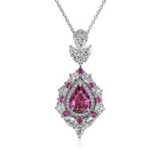 Pendentif halo de diamants et saphir rose en or blanc 18carats