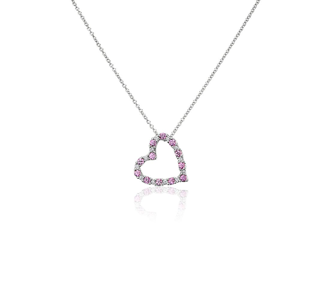 Pink Sapphire and Diamond Heart Pendant in 14k White Gold