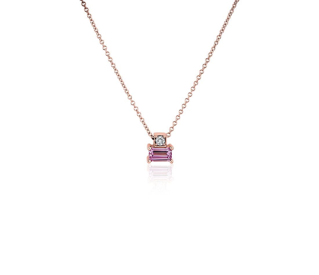 Pink Sapphire and Diamond Solitaire Pendant in 14K Rose Gold
