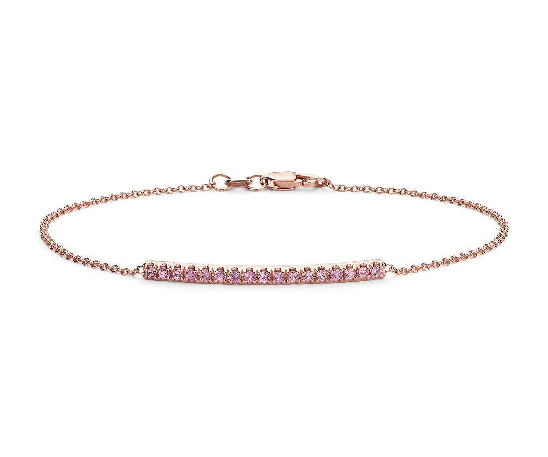 Bracelet orné d'une barre avec saphir rose serti en pavé en or rose 14carats (1,5mm)
