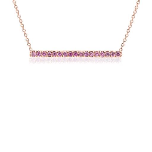 Blue Nile Pink Sapphire Pave Bar Bracelet in 14k Rose Gold (1.5mm) LYAxi