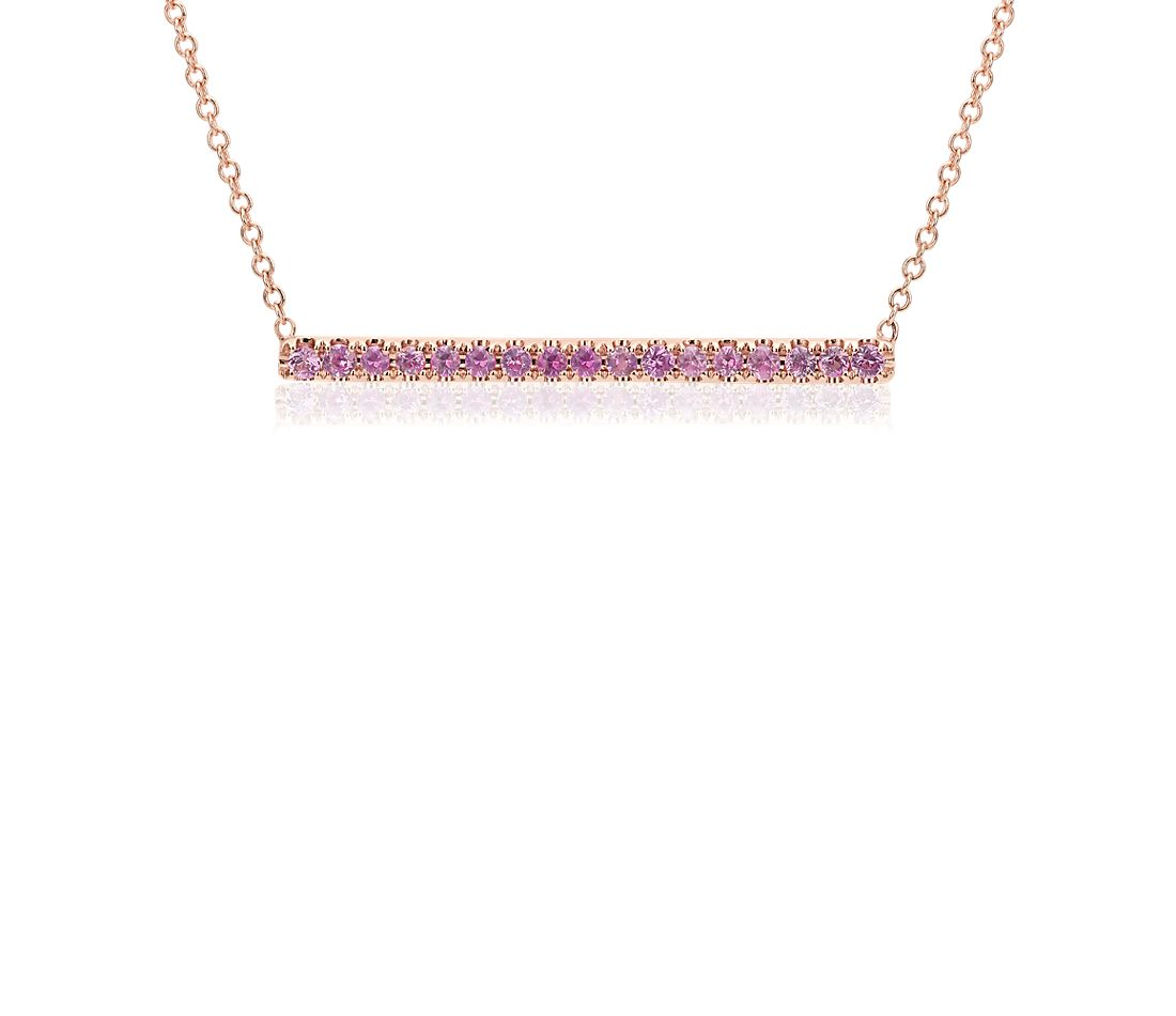 Pink Sapphire Pavé Bar Necklace in 14k Rose Gold
