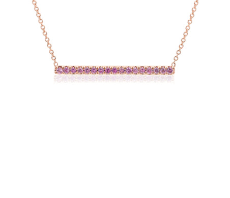 Pink Sapphire Pavé Bar Necklace in 14k Rose Gold (1.5mm)