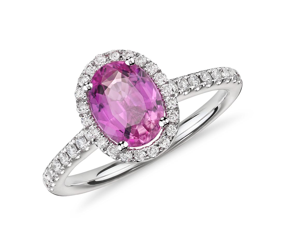 Pink Sapphire and Micropavé Diamond Halo Ring in 14k White Gold