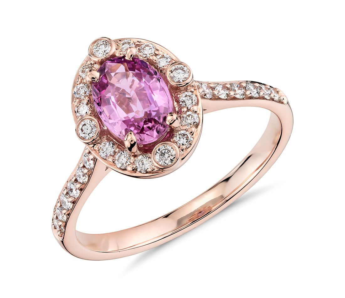 Pink Sapphire and Diamond Ring in 18k Rose Gold (7x5mm)