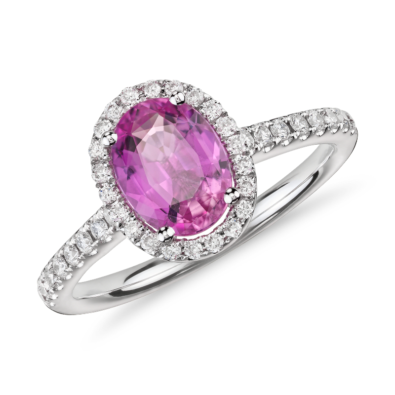 Pink Sapphire and Micropavé Diamond Halo Ring in 14k White