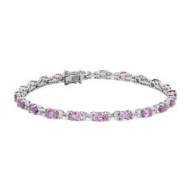 Bracelet saphir rose et diamant en or blanc 14 carats (4 x 3 mm)