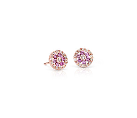 Pink Shire And Diamond Fl Stud Earrings In 14k Rose Gold 1 5mm