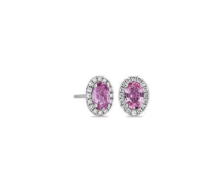 14k 白金粉红蓝宝石与微密钉钻石耳环<br>(6x4毫米)