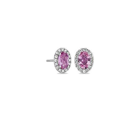 Aretes con micropavé de diamantes y zafiros rosados. en oro blanco de 14 k (6x4mm)